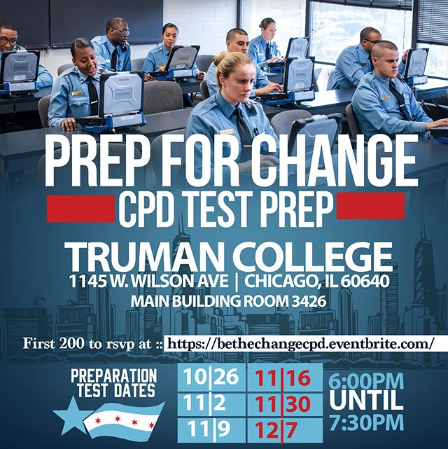 If you APPLIED for the Chicago Police Exam, this test prep is for you! This session is geared towards helping you prepare for the written portion of the CPD exam. Please note each session will be identical, the sessions will not build upon one another. We suggest you RSVP and attend 2-3 events max!