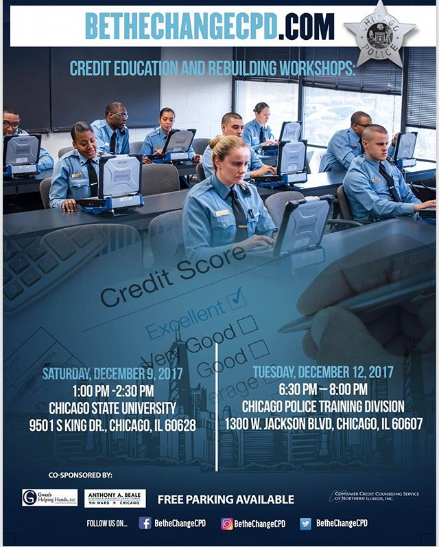 "Saturday December 9th and Tuesday December 12th we are teaming up with Gwen's Helping Hands to bring you ""Credit Education and Rebuilding Workshops"". Register now at  https://bethechangecpd.eventbrite.com/  First 200 RSVP's! Please only register for one event, space is limited."