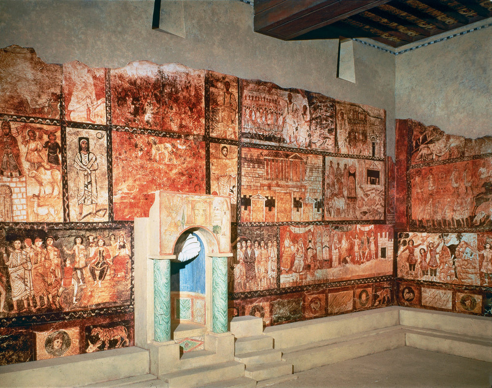 """Iconography"" in Jewish Synagoge in Dura-Europos, dating back to the 2nd century AD."