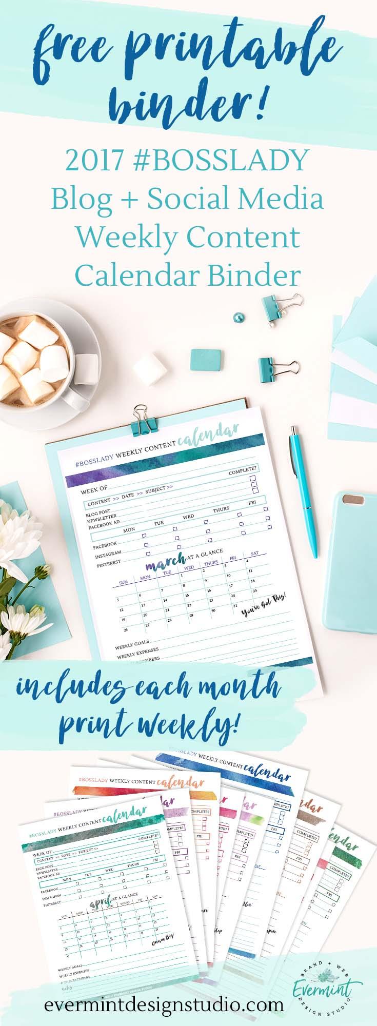Blog + Social Media weekly content calendar binder