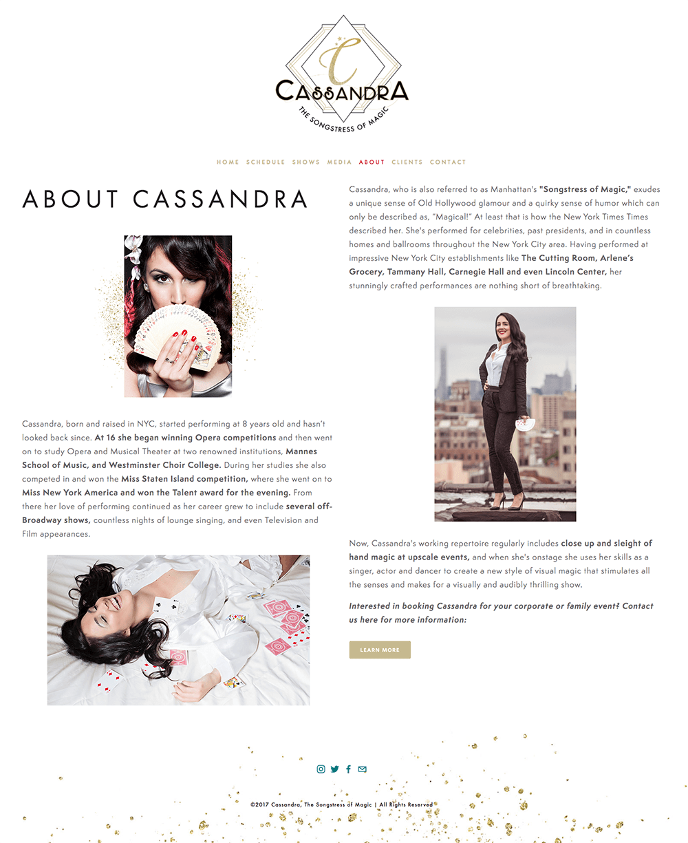 Website Design for Cassandra, The Songstress of Magic