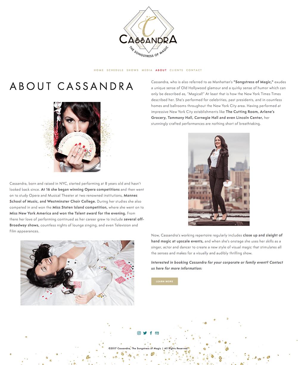 Website Design for Cassandra, The Songstress of Magic