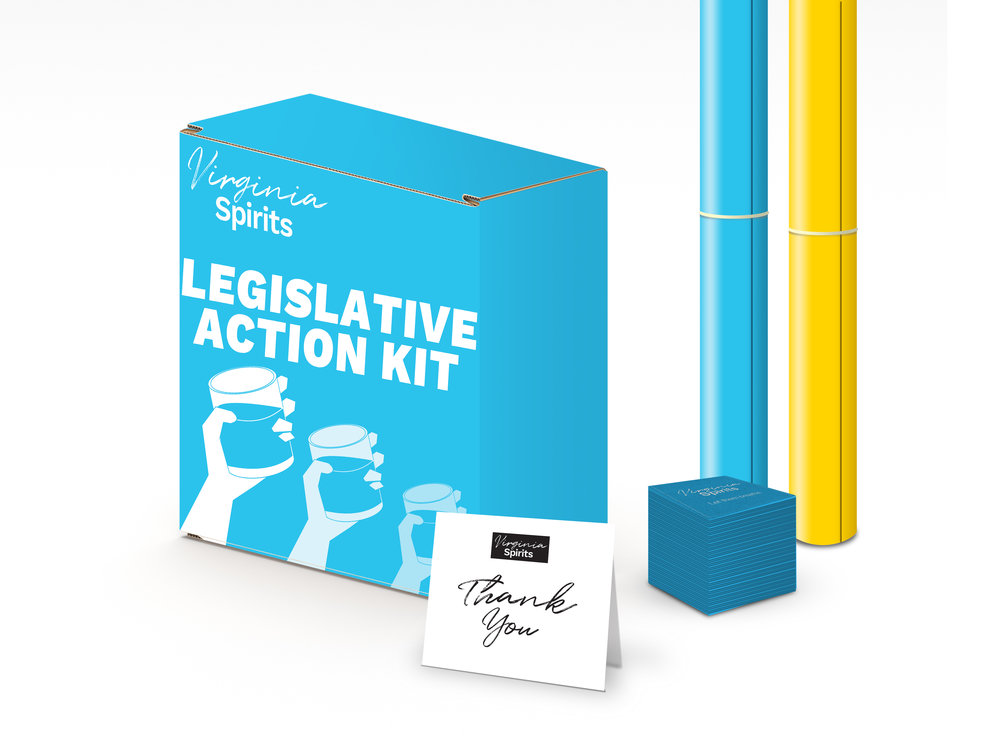 Legislative Action Kit - In order to educate and active the public, we created the VA Spirits Legislative Action Kit. The Kit contains coasters, posters and other tools that restaurants, bars and distilleries can use to energize and education their customers.