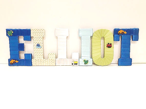 Boys Train and Truck Theme Name Letters