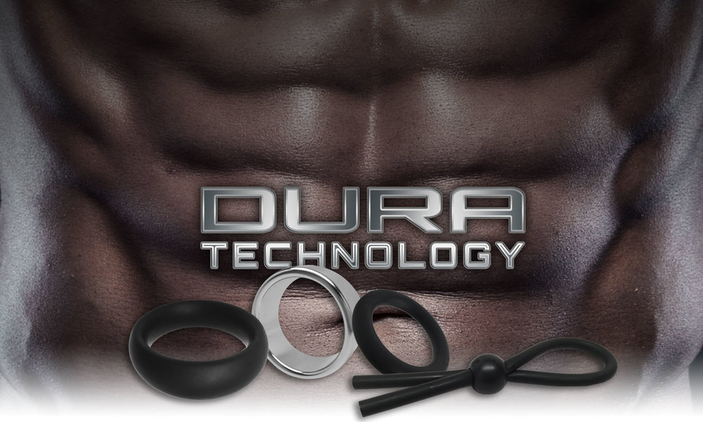 DURA TECHNOLOGY COMES IN A VARIETY OF INTERESTING MATERIALS, IS EXTREMELY DURABLE, PROVIDES A GREAT MADE-TO-FIT FEELING, AND HELPS MAINTAIN EXTRA HARD ERECTIONS.