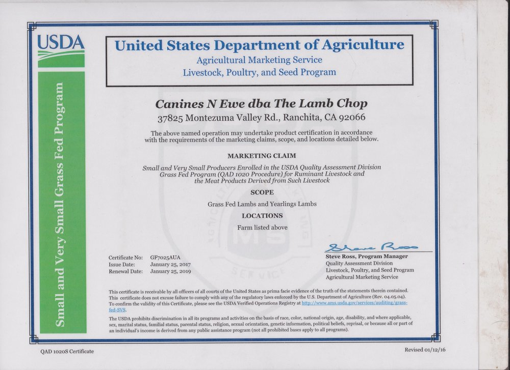 USDA GRASS FED Certification — The Lamb Chop