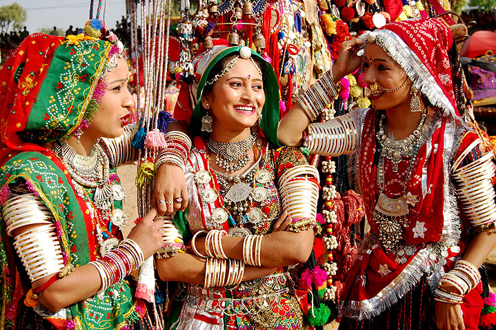 Women in Rajasthani garb.png