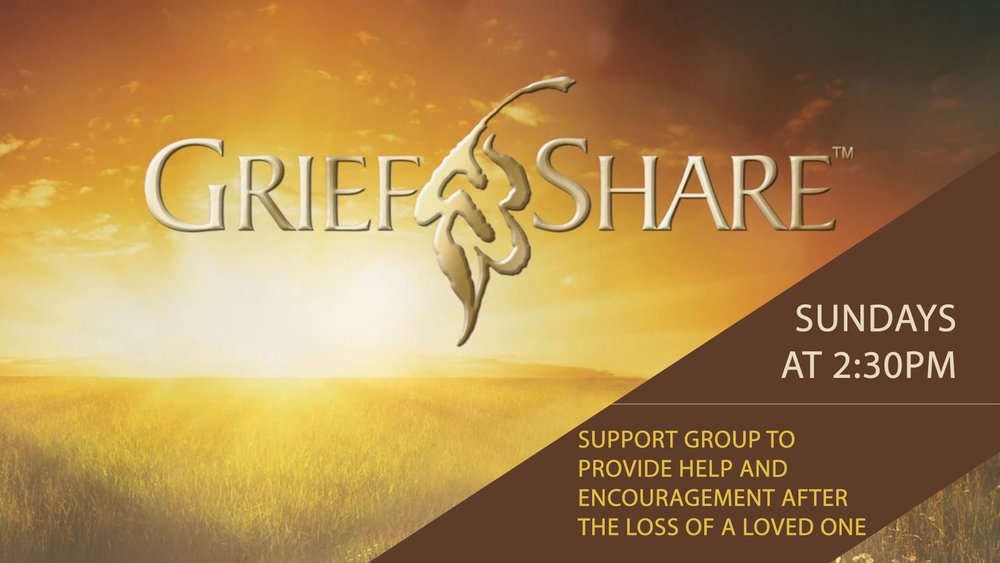 Grief Share - Grief Share is a support group for those who have experienced the loss of a loved one. We meet Sundays at the church at 2:30pm.