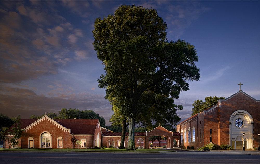Holy Rosary_Parish Life Center_Sunrise Exterior Scene.jpg