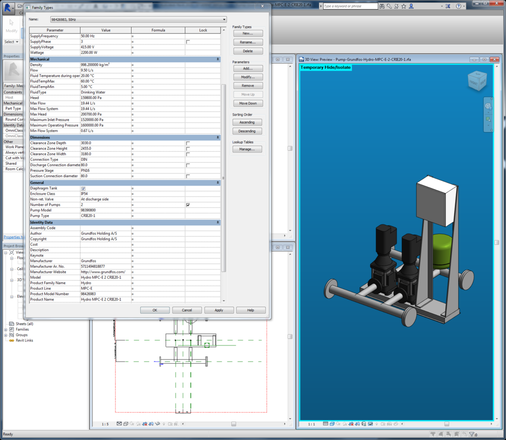 Screenshot of Autodesk Revit 2015 featuring a Grundfos pump.
