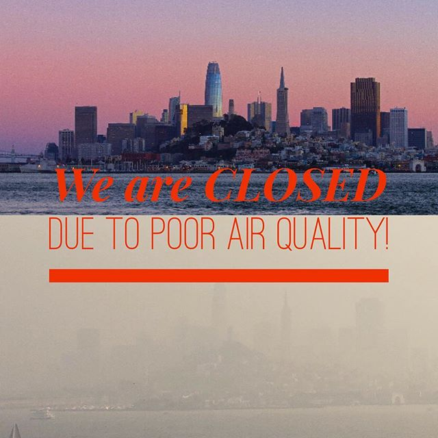 "NOTICE: We are CLOSED today due to poor air quality! Talk about ""Before and After""... thanks Alcatraz Island for this pic..."