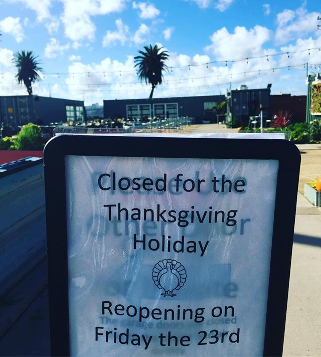 We are CLOSED Thanksgiving Day.. open Friday 23rd! We are THANKFUL for all our guests and friends who have supported us from opening day to our FIRST Thanksgiving! Also thankful for the rain and clear air and skis... and prayers to all those affected by the terrible fires! #thanksgiving #thankful #thanksgivingday #treasureisland #merseasf #sf #sanfrancisco #clearskies #cleanair