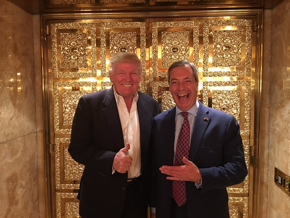 Donald Trump and Nigel Farage celebrating at Trump Towers after the election