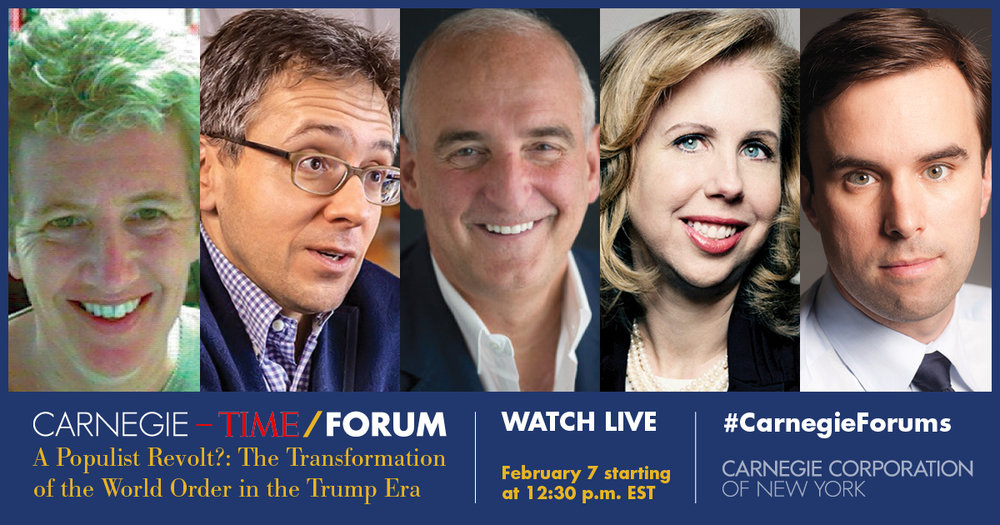 Ian Bremmer, Pippa Norris, Roger Cohen and Michael Scherer discuss populism during the Carnegie Corporation-TIME forum on Feb. 7, 2017