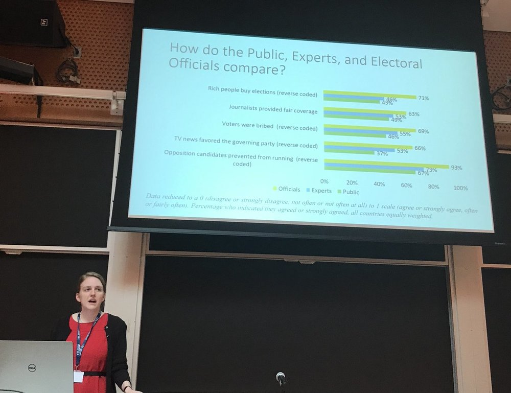 Holly Garnett and Toby James presented new data on how how electoral officials evaluations of elections compares to other measures