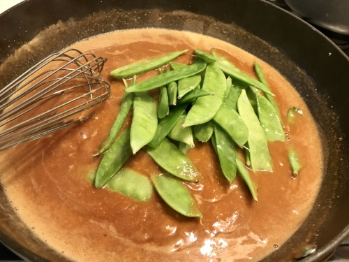 I add the snow peas here instead of steaming separately. Otherwise, it's not a true one pot meal!!