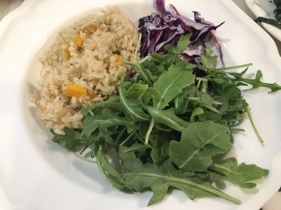 Arugula, red cabbage and  brown basmati rice  made with some veggies as a base. The way I make my rice is linked to a previous post.
