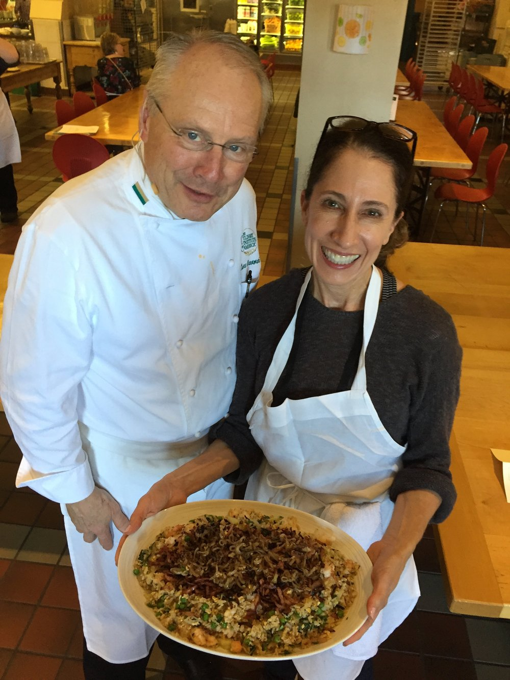 Brenda with Chef Lars Kronmark, Culinary Institute of America, Healthy Kitchens Healthy Lives conference