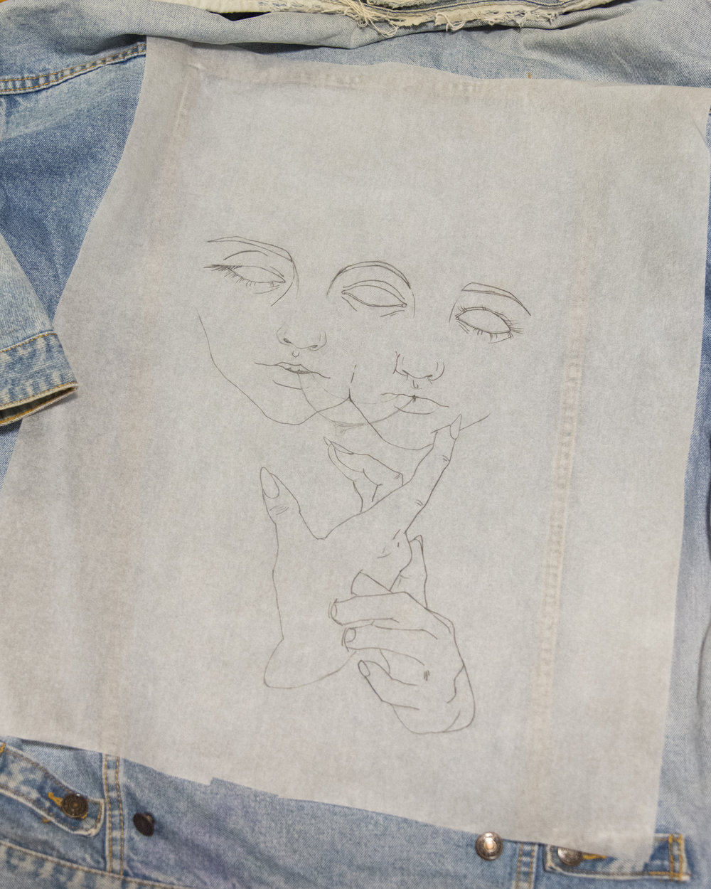 """""""Mira"""" drawing in the process of being transferred onto jacket. © HANDFAST HOTEL 2018"""