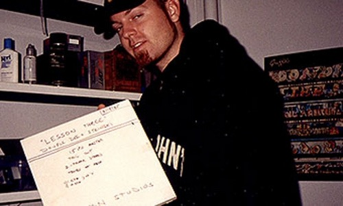 DJ Shadow holding the original Lesson 3 tape master