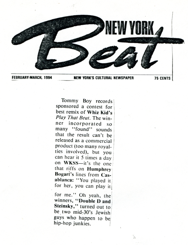 Double Dee and Steinski in New York Beat magazine 1984