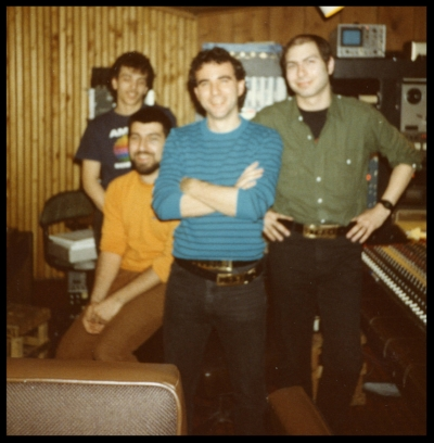 4:30 A.M. - Unknown assistant, Dave Ogrin, Double Dee, David Witz at Quad Studios NYC 1985. Wearing our OG custom belt buckles. Please excuse the grimy lens.