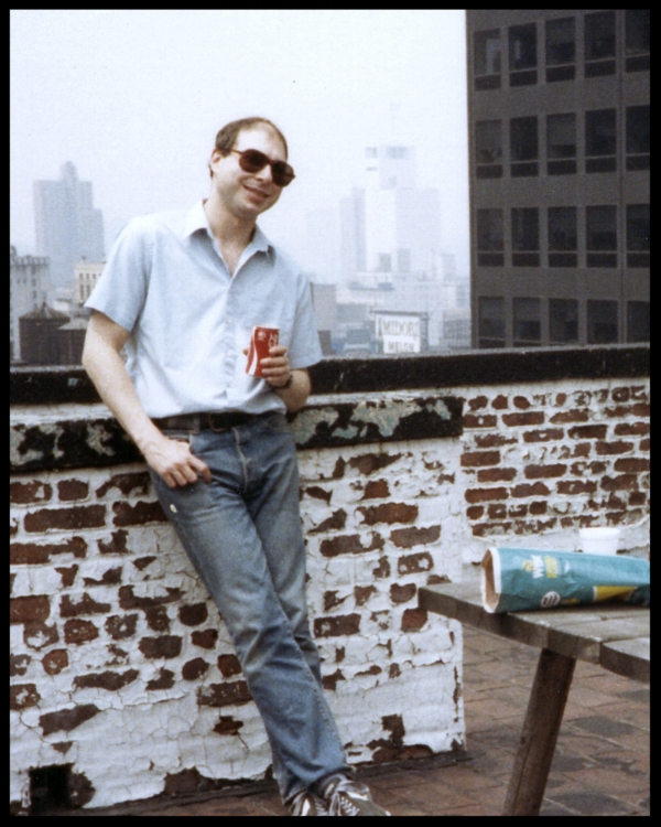 David Witz (Arthur Ether) outside Studio B at Clack Studios NYC around 1983