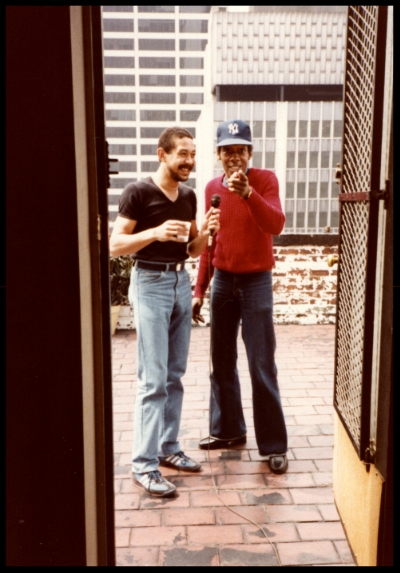 Door to the terrace, just a few feet from where I sat. Left is RCA Records producer Gregory Bruce holding the mic for David Langston Smyrl getting a true outdoor recording. David later played Mr. Hooper on Sesame Street.