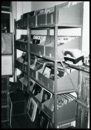 Part of Steinski's records in the Zoltan studio.