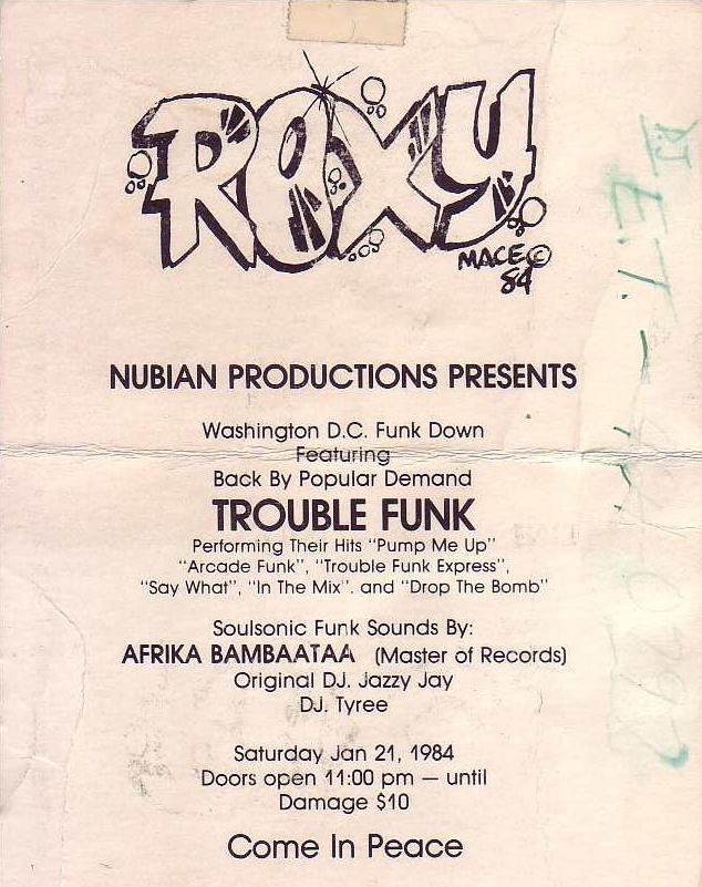 Trouble Funk at The Roxy - handbill 1984