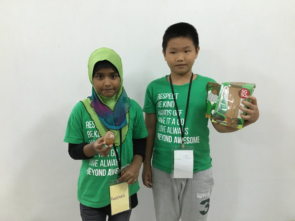Faheenah and Haekal who were part of the team to produce the Unbreakable Egg!