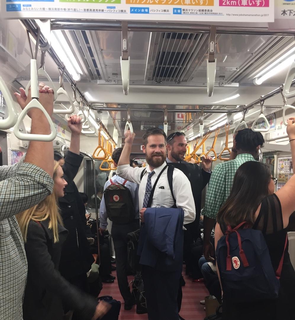 Mr. B on the train, Yokohama