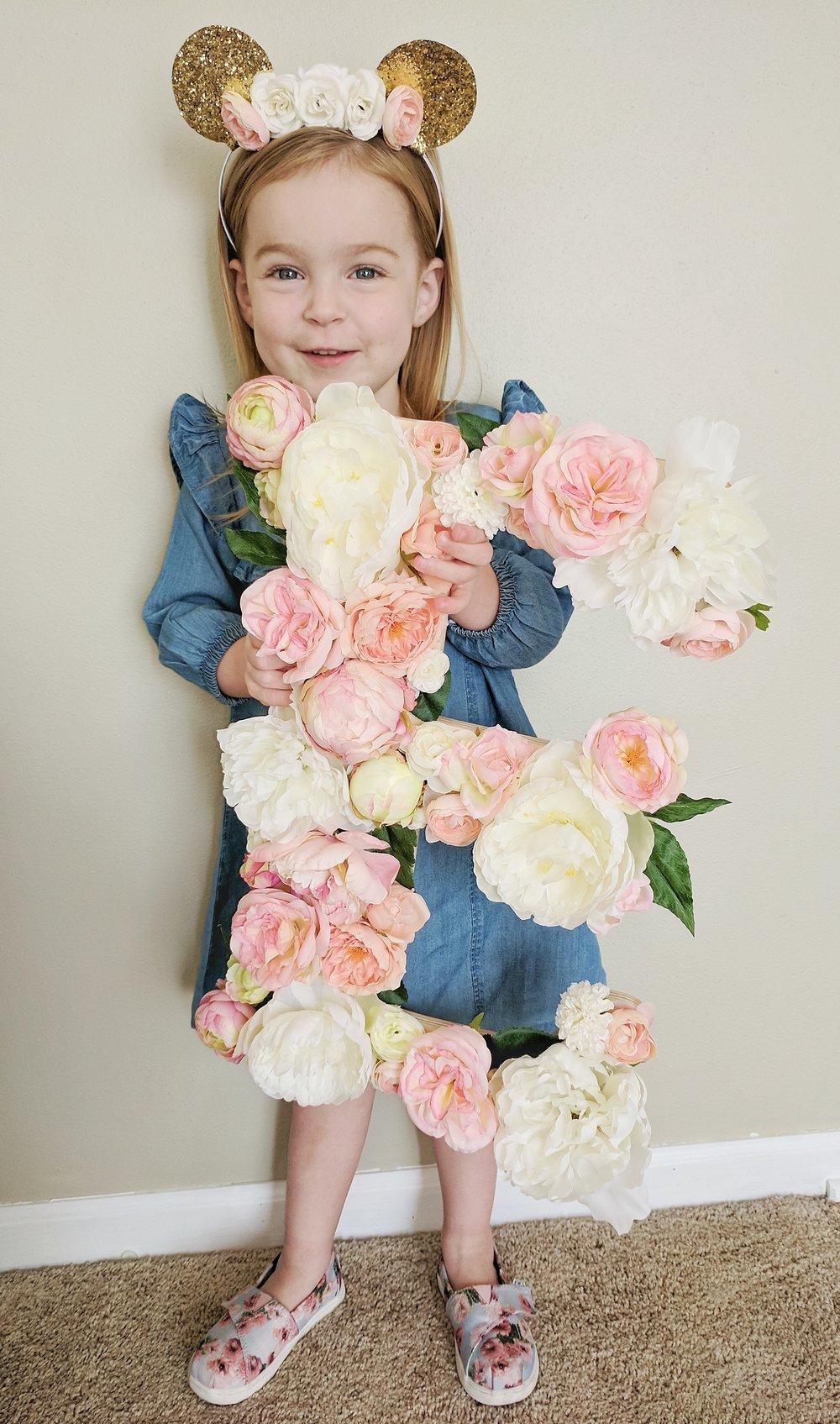 Floral Minnie Headband  /  Floral E  / Shoes: TOMS / Denim dress: Old Navy