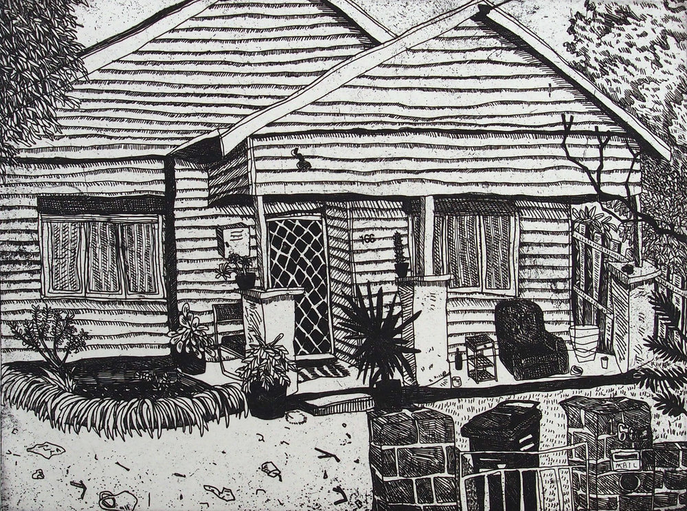 Carolyn Hawkins,  Beavers Road , 2016, etching