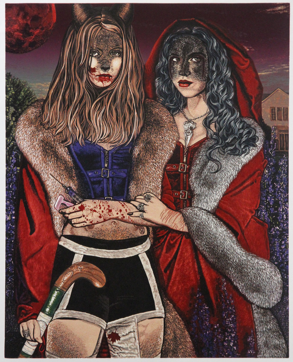 Jazmina Cininas,  Blood Sisters , 2016, Reduction linocut and second block, Paper: 78 x 63 cm, Image: 69.5 x 56cm, Edition of 15