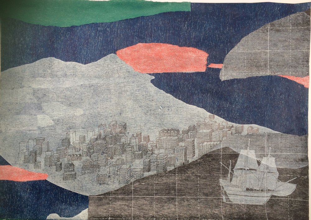 Jessi Wong,  Migrating collage I , 2016, Woodblock, lino and pen collage on paper, 50 x 65 cm