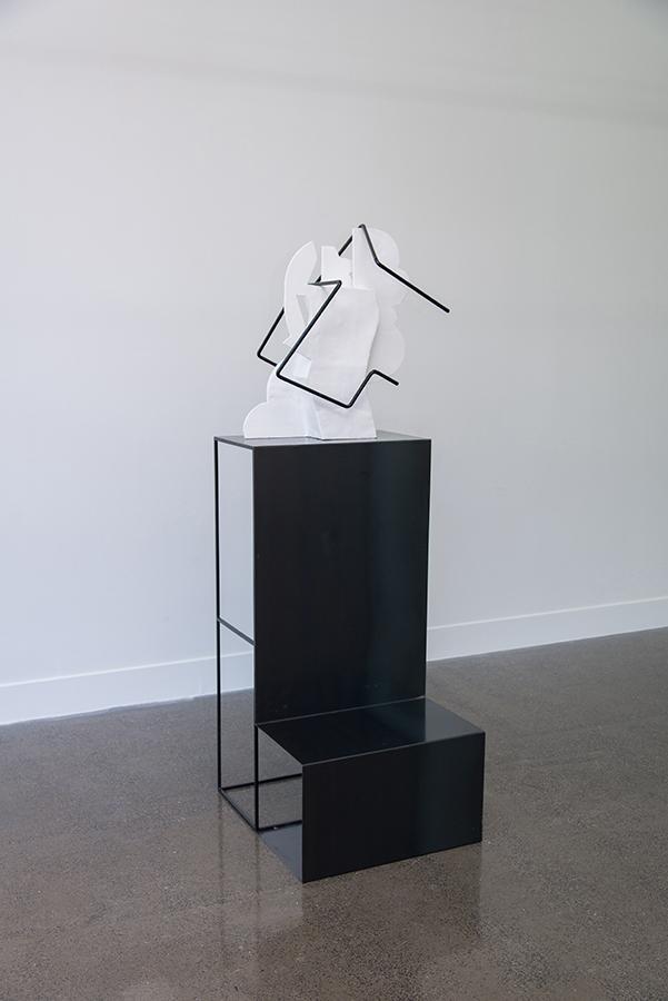 Sanné Mestrom,  Dear Scott  , 2015, Ceramic (ft. Scott Jackson's found photographs), 187 x 60 x 20cm