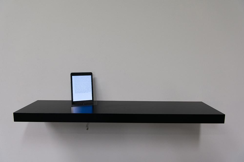 Jessica Curry,  LACK 702.821.81  , 2016, IKEA LACK floating shelf 10973, iPad Mini, perspex, vinyl window decal. Duration: 421 mins, 250 x 1100 x 250 cm