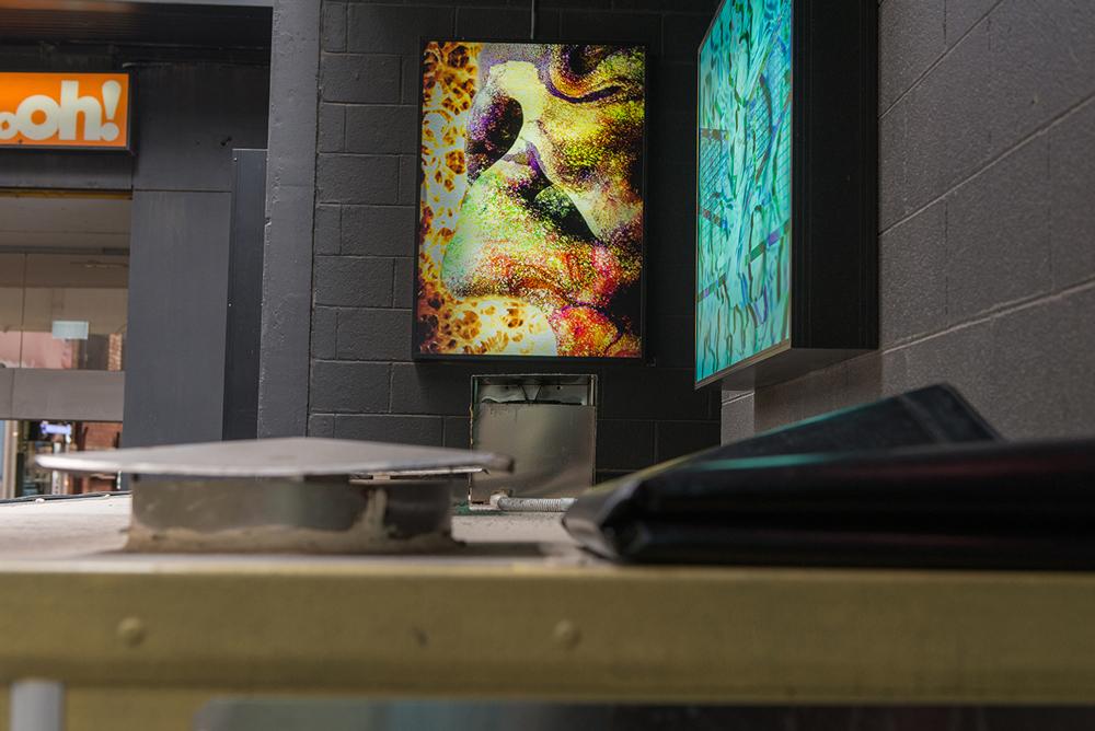 (L) Helen Pun, Drifting IV , 2015, Digital print on metallic photo, (R) Wong Cheuk Ying, Turquoise (architecture) , 2014, Inkjet print