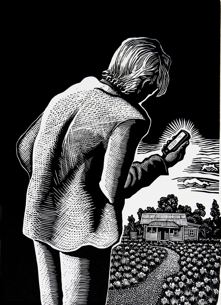 David Frazer,  The Text  , Linocut, 35.3 x 25 cm, 2014