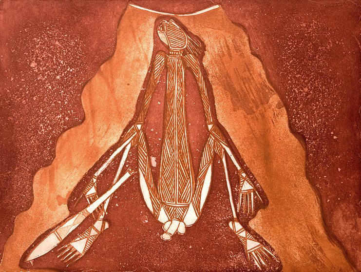Graham Badari,  [spirit man]  , two-colour etching, 28 x 38 cm, 2011