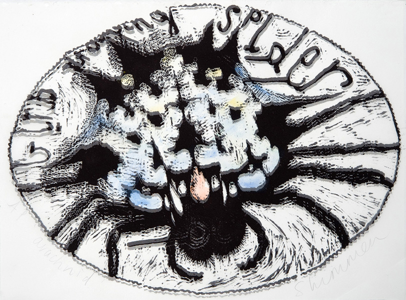 Heather Shimmen,  Arachnid  , Linocut and ink on paper and organza, 28 x 38 cm, 2011
