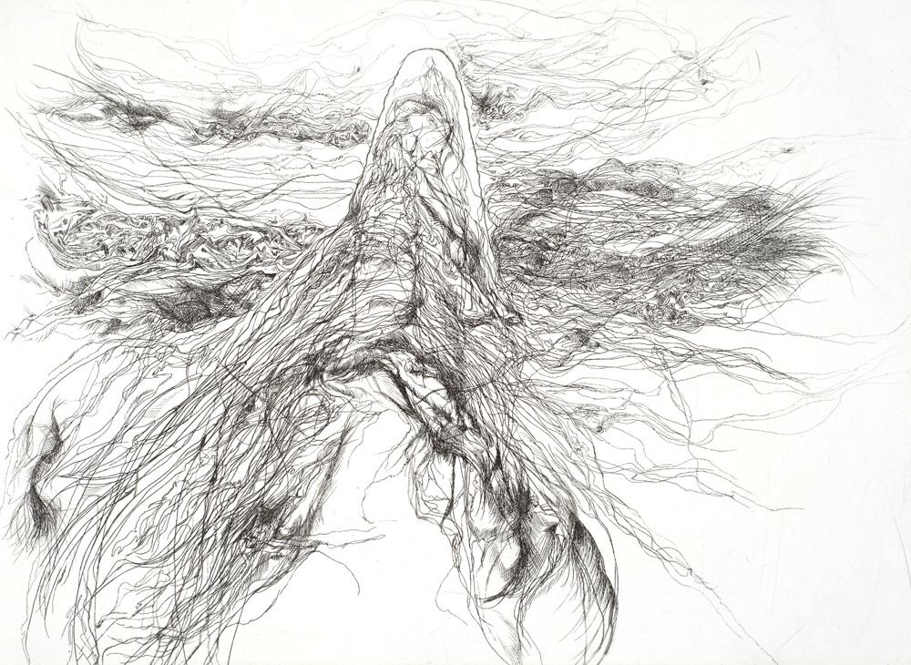 Irene Hanenbergh,  Tunguska (David Maria Jones, 1908)  , Etching, 28 x 38 cm, 2010