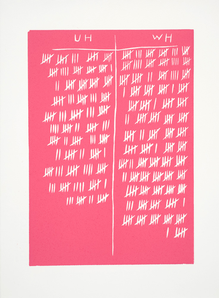 Kiron Robinson,   Used hours/wasted hours, February (watermelon)  , Relief print, 38 x 28 cm, 2010