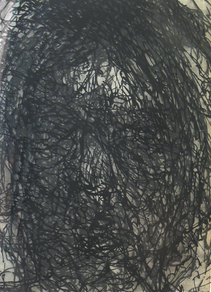 Alex Carroll,   Self-portrait, delineated  , Etching, 38 x 28 cm, 2007