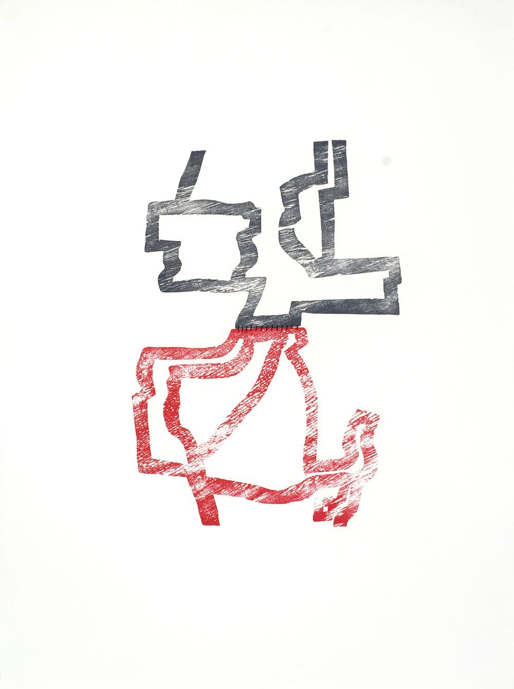Mark McDean,  A fine balance  , Woodcut, thread, 56 x 76 cm, 2006