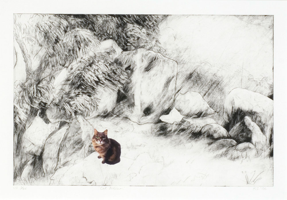Kate Stones,  Cat Problem  , Drypoint etching and collage (Unique State Prints), 38 x 57 cm, 2006