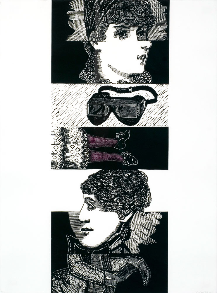 Marion Manifold,  Cadavre Exquis: La juene fille qui porte des chausettes rouges (Exquisite Corpse: The young girl wears red stockings)  , Linocut, 76 x 57 cm, 2005