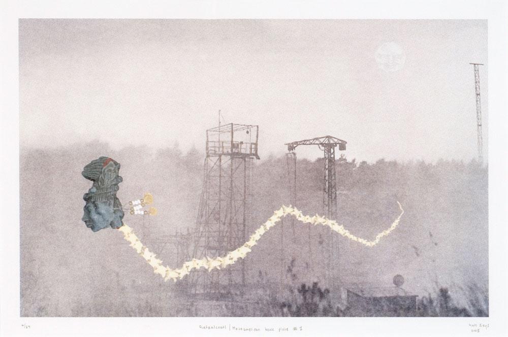 Kate Žižys,  Quetzalcoatl/Mesoamerican book plate #1  , Colour CTP lithograph, 38 x 58 cm, 2005