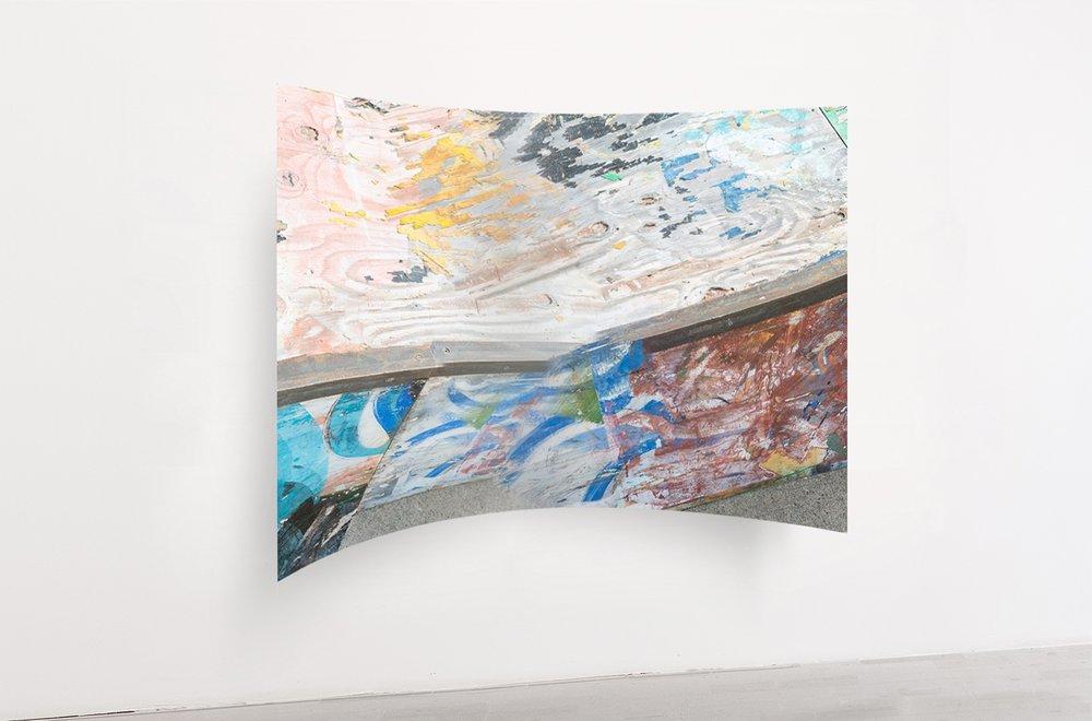 Rui MIzuki,  untitled (dub),  2016, inkjet-print, aluminum, roll pressing process, 1600 x 1100 x 260 mm
